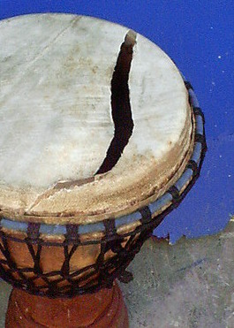 Djembe with a broken skin
