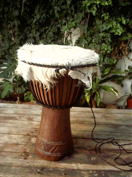 Djembe skin folded down