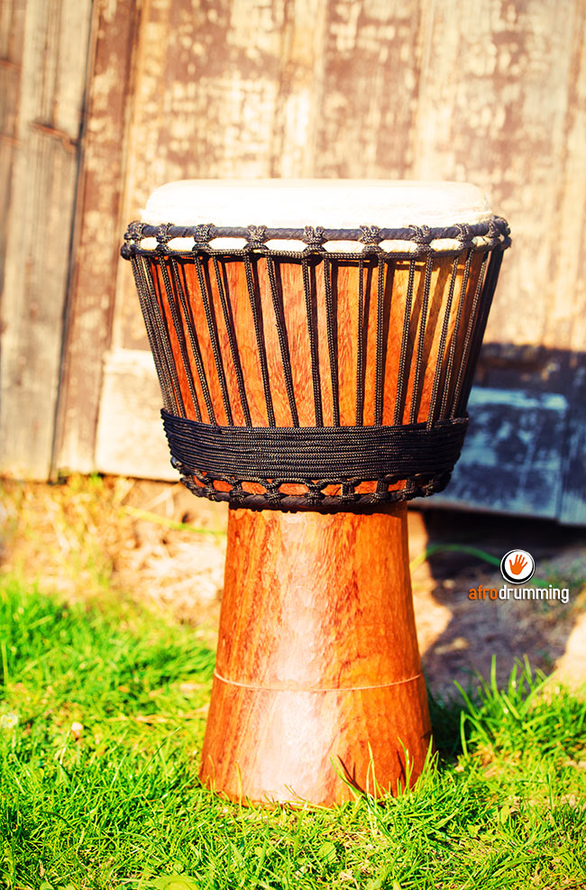 Wood and rope djembe
