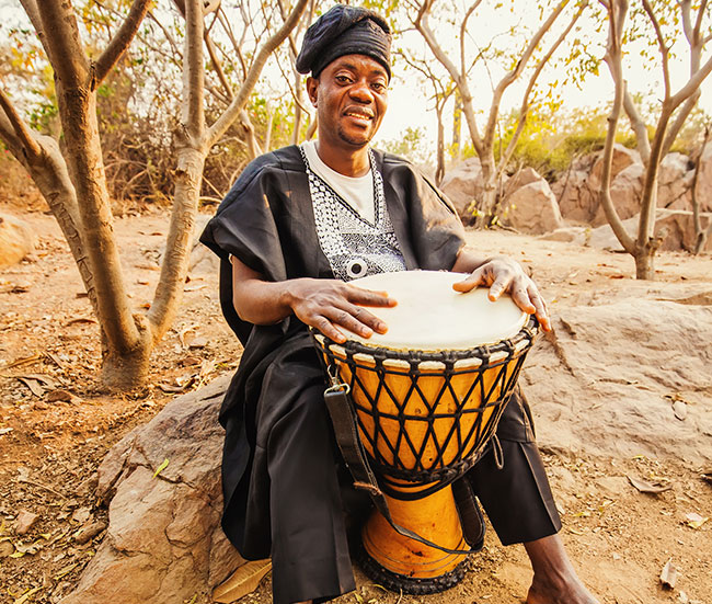 A djembe musician in Africa