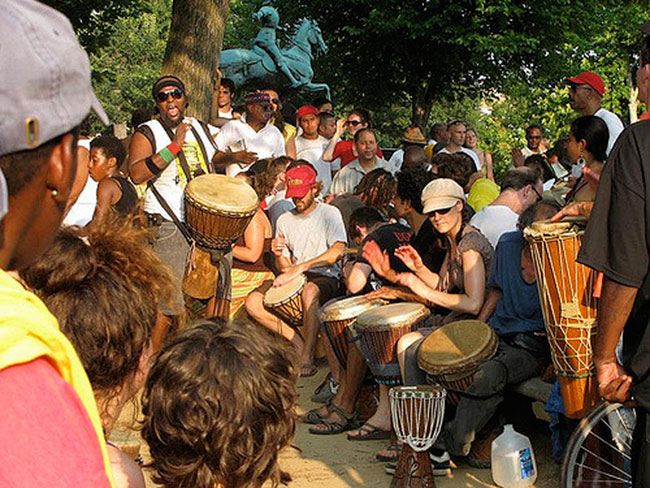 An outdoor drum camp