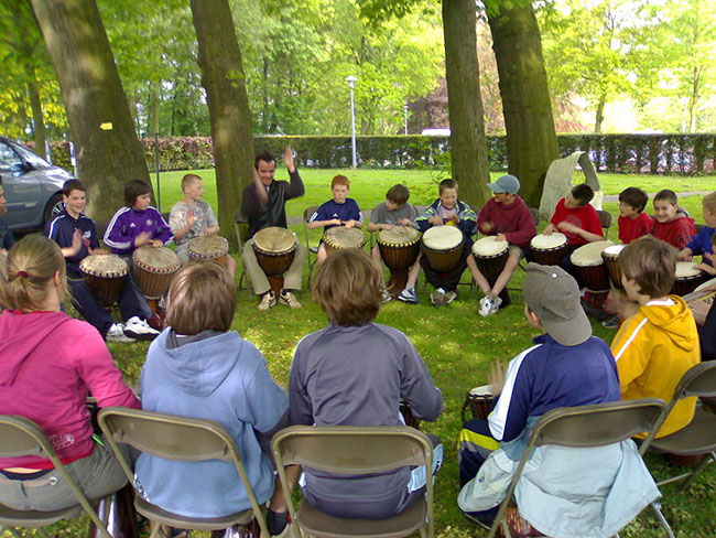 Children in a drum circle
