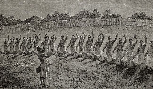 Old illustration of drummers in Africa